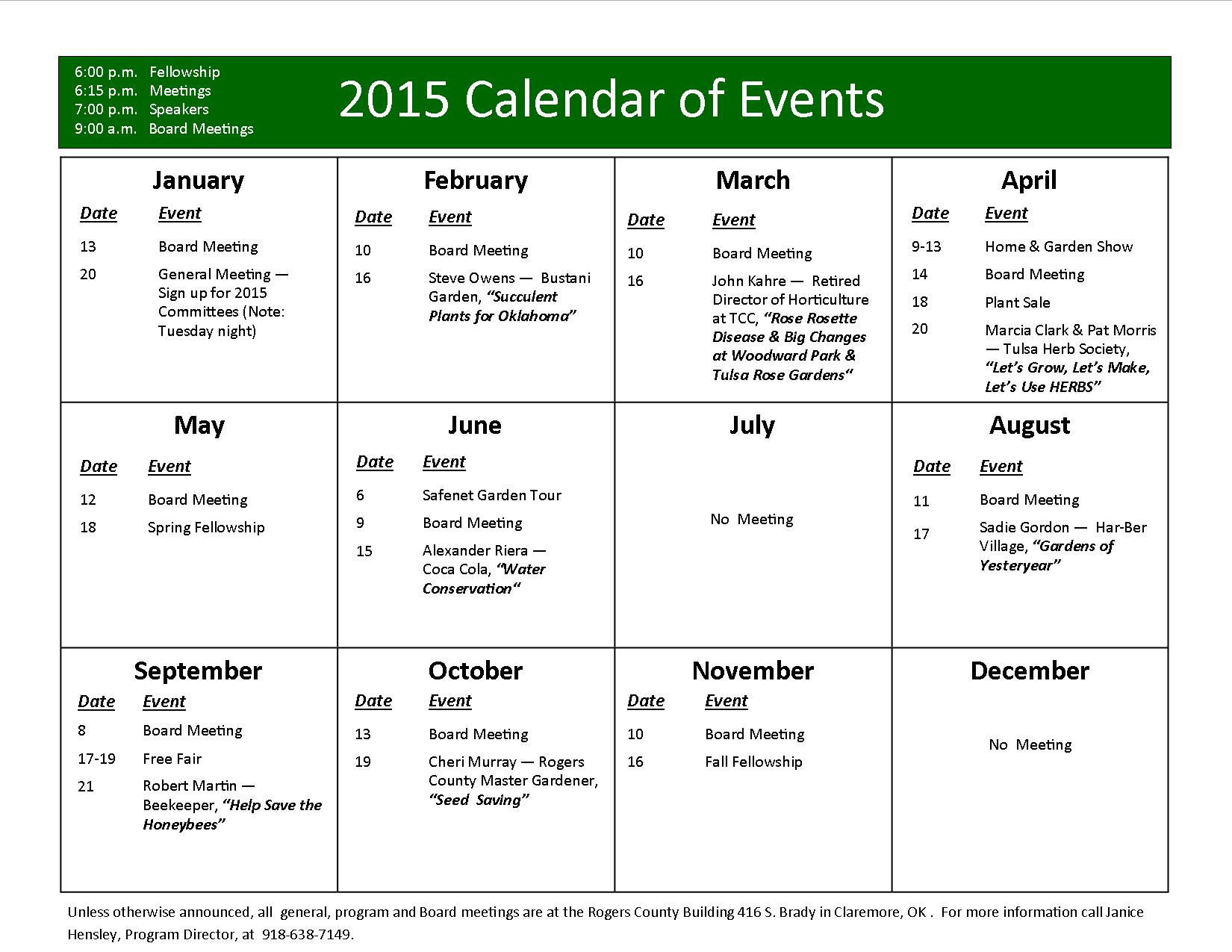 Year Calendar Events : Mgarc